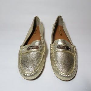 Coach Fredrica Gold Leather Loafers